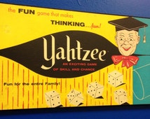 Vintage Board Game Artwork wall hanging , Yahtzee,  E S Lowe Company NY,NY Circa 1964,(Made from the actual board game cover)