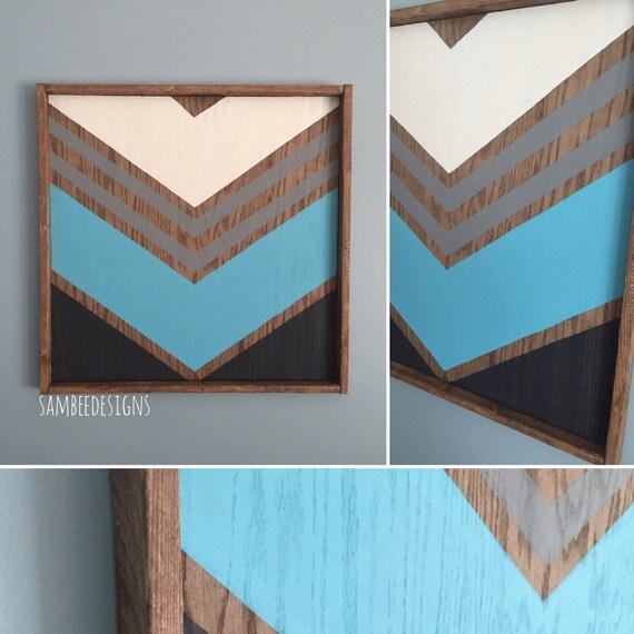 Chevron Wood Wall Decor : Modern rustic wood wall art sign chevron by sambeedesigns