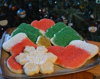 Holiday Sugar Cookies with sugar crystals-Homemade