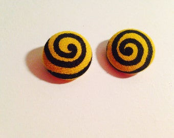 African print yellow and black spiral button earrings
