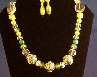 Apple Green Beaded Necklace and Matching Earrings