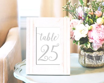 Printed Table Numbers, Grey Silver Wedding Table Numbers 1-30, 4x6 and 5x7 Table Numbers
