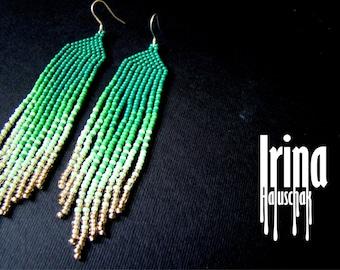 Beaded earrings, seed bead earrings, modern earrings, boho earrings, fringe earrings, handmade jewelry, gradation from emerald to light gold
