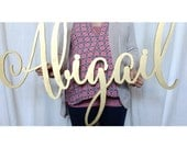 large laser cut name sign, abigail calligraphy style
