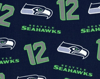 Seattle Seahawks 12th man Fabric- NFL - 100% Cotton High Quality Fabric- by Fabric Traditions