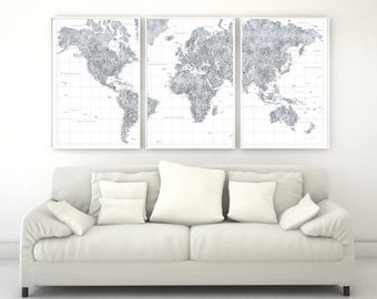 Large Detailed Grayscale 3-Paneled World Map! Digital Download