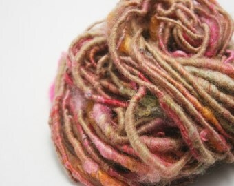 Handspun Corespun Art Yarn - Alpaca, Bamboo, BFL/Gotland/BL lamb locks - Soft Mini Skein