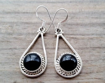 Black Onyx Earrings -  Sterling Silver Earrings - Black Earrings - Black Gemstone Earrings - Teardrop Earrings- Onyx Jewelry