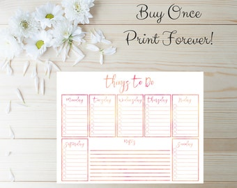 Daily Planner PDF - To Do List Printable - To Do List Planner - Printable Organizer -  Daily Planner - Day Planner - Weekly Planner - To-Do