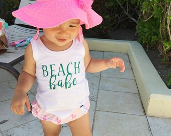 Beach Babe Tank Top - White with Teal Glitter Spring and Summer Toddler Shirt - Vacation - Poolside - Toddler Tank