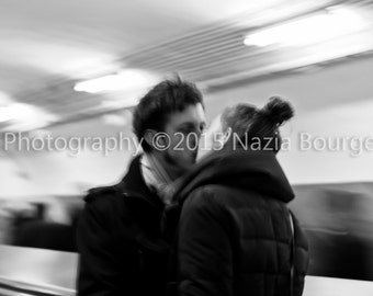 Street photography - black and white photography - Format 30 X 45 - the kiss of the metro