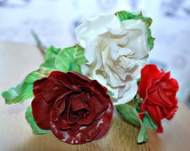 Valntines day gift, Polymer clay rose flowers, Anniversary, Mothers birthday gift idea ~ Everlasting, cold porcelain flowers