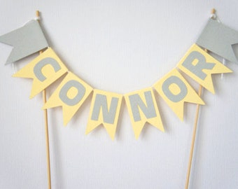 Personalised yellow and grey cake topper- name- age- custom- engagement- birthday party- baby shower- celebration
