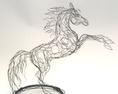 2D Small Wire Sculpture Horse on Stand by Elizabeth Berrien