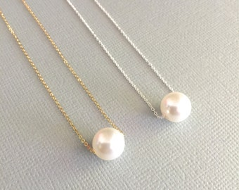 Floating Single Pearl Necklace, Swarovski Pearl, Bridesmaid Necklace, Minimalist Necklace, Mother of The Bride Necklace, Stamped Eve