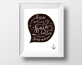 bathroom print, kids bathroom print, french quote bathroom, ancers black, kids quote