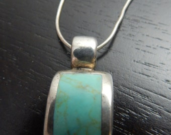 Mexico Sterling Turquoise Inlay Necklace