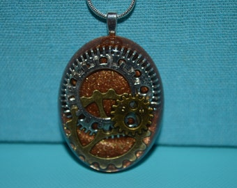Steampunk Bronze Oval Gears and Cogs Necklace, Resin Jewelry