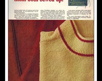 "Vintage Print Ad November 1968 : Pendleton Fashion Clothing  Wall Art Decor 8.5"" x 11"" Advertisement"