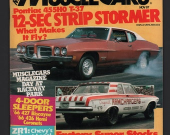 Vintage Magazine : Musclecars November 1987 Automobile Car Hot Rod VG+