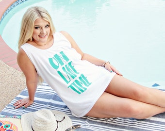 beach cover up - white tank - on lake time - cover ups - cover up swim - cover ups swim - cover up beach - bathing suit cover up - tank top
