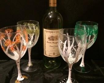 Four Seasons Hand Painted Glasses-Set Of 4 Glasses-Birch Tree Glasses-Home&Living