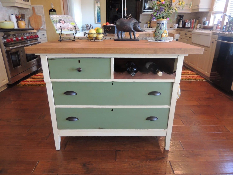 Repurposed Antique Dresser As A Kitchen Island With A: 1930's Repurposed Vintage Kitchen Island
