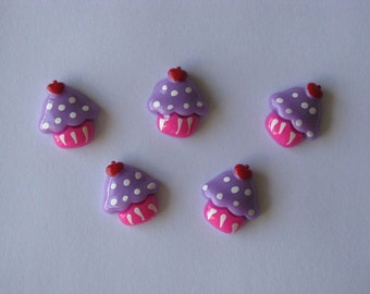 cupcake resins cabochons purple pink party resins 5 per packet