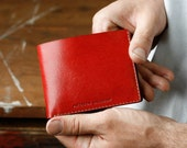 Kangaroo Leather Wallet Classic, Australian, Red, Hand Stitched, Billfold Wallet, Leather Wallet,  Personalised, Personalized