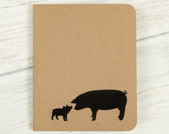 Pig Notebook, Small Notebook, Cute Stationery, Pocket Journal, Blank Notebook, Pig Stationary, Kraft Notebook, Pig Gifts, Farm Animals