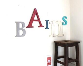 Giant Word bathroom grey, red, blue, white - mylittledecor - letters - name giant-giant letter - industrial - bathroom