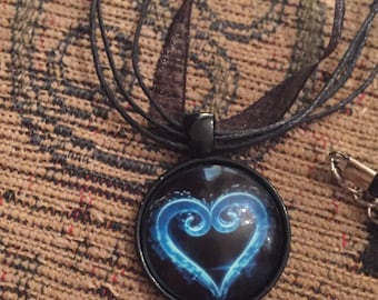 Heart pendant on black organza ribbon necklace