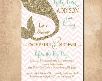 Mermaid Baby Shower Invitation printable/Digital File/under the sea, baby girl shower, mint, pink, mermaid invitation/Wording can be changed