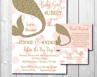 Mermaid Baby Shower Invitation printable/Digital Files/with book request, diaper raffle, gold and pink, pink and gold, under the sea shower
