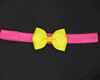 baby headband pink azalea elastic with maize yellow bow
