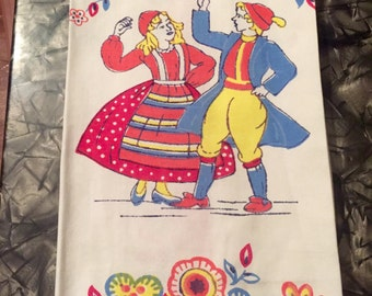 Vintage Folk Dancers Dish Towel