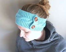 """Iced Aqua Knitted Cable Headband with Light Brown 3/4"""" Buttons"""