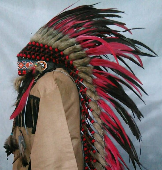 Extra Large Native American Warbonnet Ling Red Indian-3341