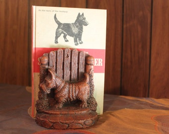 Scottish Terrier Bookends & Book Vintage 1930's Syroco Wood The Complete Scottish Terrier Office Books Reading Gift Collectible - Off025