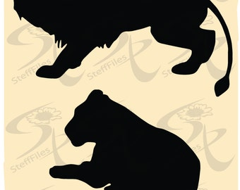 0299_ Vector LION Animals Silhouette,Download files, Digital, graphical, AI, png, eps, jpg
