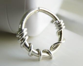 Sterling Silver Nose Ring Hoop, 16g cartilage hoop, conch piercing hoop, 16g septum ring