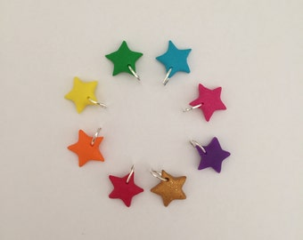 Rainbow star/heart charms handmade with polymer clay