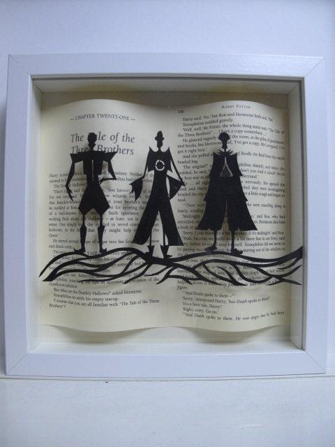 Los Tres Hermanos Harry Potter Enmarcado Arte Papel Corte