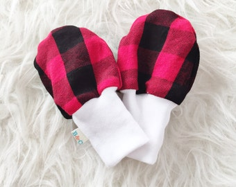 SALE - Baby Scratch Mittens - Red and Black Buffalo Check Plaid Lumberjack - Knit