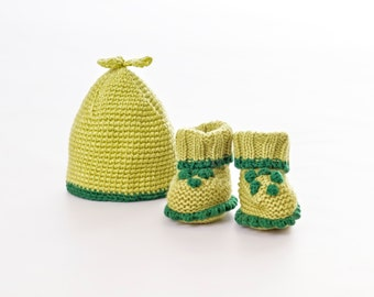 Hand Knitted Pea Pod Baby Hat And Bootie Set