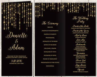 Elegant Folding Wedding Program DIY / Great Gatsby Bokeh String Light / Black and Gold / Bridal Party, Ceremony Schedule ▷Printable PDF