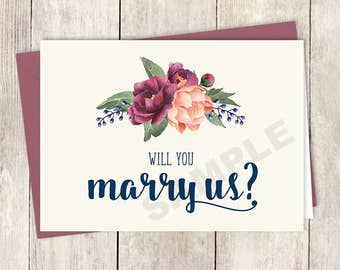 Will You Marry Us Card DIY Printable / Burgundy Peony Berry Bouquet, Peach Blush Pink Ranunculus, Fall ▷ Instant Download PDF