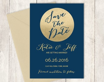 Gold Sparkle Save The Date / Metallic Gold and Navy / Champagne Gold ▷ Printed Wedding Invitations {or} Printable