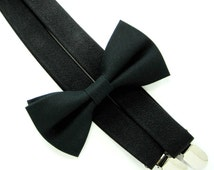 Solid Black Bow Tie and Black Suspender set -Bow Tie and Suspender Set for Baby,Toddler and Boys, Suspender and bow tie set