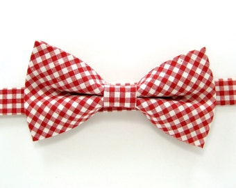 Red gingham bow tie, Red Bow Tie,Wedding bow tie for Men,Toddlers ,Boys